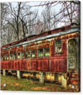 Devastation Railroad Passenger Train Car Fire Art Acrylic Print