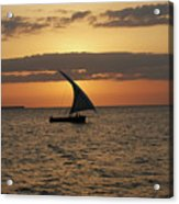 Dhow At Sunset Acrylic Print