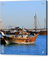 Dhows In Doha Bay Acrylic Print