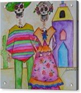 Dia De Los Muertos Mexican Couple Diego And Frida Acrylic Print