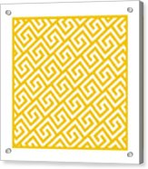Diagonal Greek Key With Border In Mustard Acrylic Print