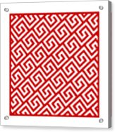Diagonal Greek Key With Border In Red Acrylic Print