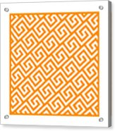 Diagonal Greek Key With Border In Tangerine Acrylic Print