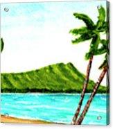 Diamond Head And Waikiki Beach #351 Acrylic Print