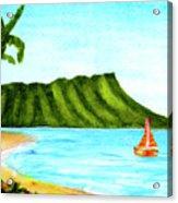 Diamond Head And Waikiki Beach Canoe #334 Acrylic Print