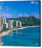Diamond Head And Waikiki Acrylic Print