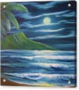 Diamond Head Moon Waikiki Beach  #409 Acrylic Print