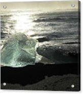 Diamond On Diamond Beach Black Sand Waves Clouds Iceland 2 2162018 1985.jpg Acrylic Print
