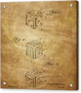 Dice Patent From 1923 Acrylic Print