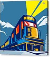 Diesel Train Winter Acrylic Print by Aloysius Patrimonio