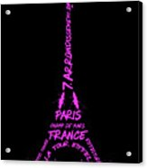 Digital-art Eiffel Tower Pink Acrylic Print