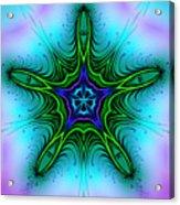 Digital Kaleidoscope Green Star 001 Acrylic Print