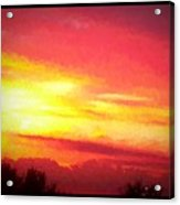 Digital Oil Painting Of Sunset Acrylic Print