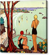 Dinard, French Riviera, Two Swimmers  Acrylic Print