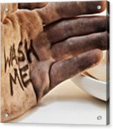 Dirty Hand With Soap Acrylic Print by Blink Images