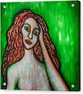 Discrete Contemplation-green Acrylic Print by Brenda Higginson