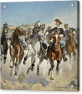 Dismounted The Fourth Troopers Moving The Led Horses Acrylic Print