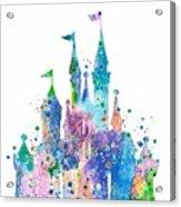 Disney Castle 2 Watercolor Print Acrylic Print