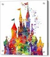 Disney Castle 6 Watercolor Print Acrylic Print