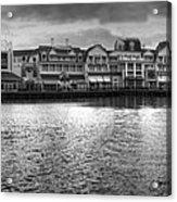 Disney World Boardwalk Gazebo Panorama Bw Acrylic Print