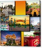 Disneyland Collage 02 Yellow Acrylic Print