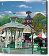 Disneyland Toontown Young Man Proposing To His Lady Panorama Acrylic Print
