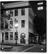 Distant Light On Front Street In Black And White Acrylic Print