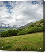 Distant Snow-capped Mountains Acrylic Print