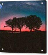 Distant Trees Under Milkyway Horizon By Adam Asar 3 Acrylic Print