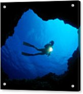 Diver At Cavern Entrance Acrylic Print by Dave Fleetham - Printscapes