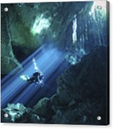 Diver Silhouetted In Sunrays Of Cenote Acrylic Print