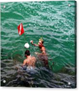Divers At Sebastian Inlet On The Atlantic Coast Of  Florida Acrylic Print