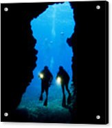 Divers Silhouetted Through Reef Acrylic Print