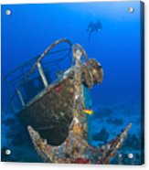 Divers Visit The Pelicano Shipwreck Acrylic Print