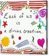 Divine Creation Doodle Quote Acrylic Print