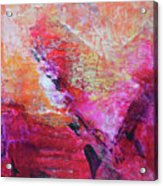 Divine Heart Abstract Orange Pink Heart Painting 8x10 Original Contemporary Modern Painting Acrylic Print