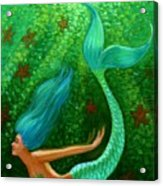 Diving Mermaid Fantasy Art Acrylic Print