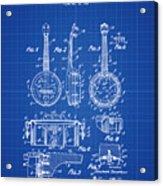 Dixie Banjolele Patent 1954 In Blue Print Acrylic Print