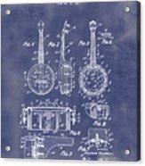 Dixie Banjolele Patent 1954 In Grunge Blue Acrylic Print