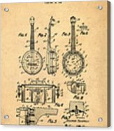 Dixie Banjolele Patent 1954 In Sepia Acrylic Print