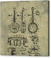 Dixie Banjolele Patent 1954 In Weathered Acrylic Print