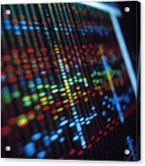 Dna Sequence On A Computer Monitor Screen Acrylic Print by Tek Image