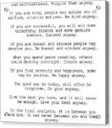 Do It Anyway By Mother Teresa #minimalism #inspirational Acrylic Print