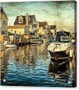 Docked At Pier In Orlieb Beach Nj Acrylic Print