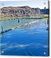 Docks Form Perimeter Of Dierkes Lake In Snake River  Near Twin Falls-idaho  Acrylic Print