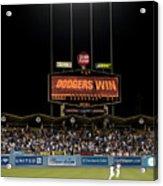 Dodgers Win Acrylic Print by Malania Hammer