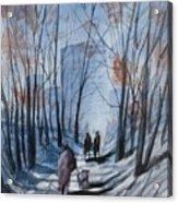 Dog Walking 2, Watercolor Painting Acrylic Print