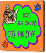 Dogs Have Owners Cats Have Staff Acrylic Print