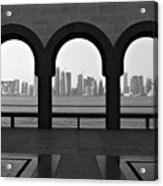 Doha Skyline From Museum Acrylic Print by Gregory T. Smith