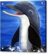 Dolphin Laughing Acrylic Print